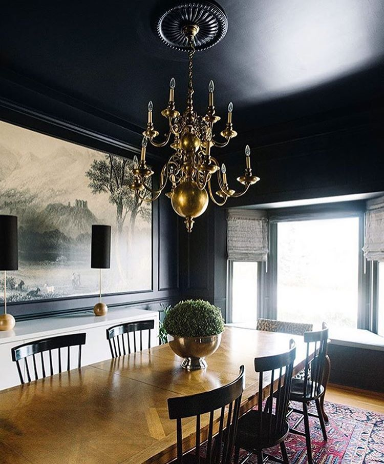 Dramatic Dining Room Painted In Farrow Ball Black Blue Themakerista Dark Dining Room Black Dining Room Dining Room Design