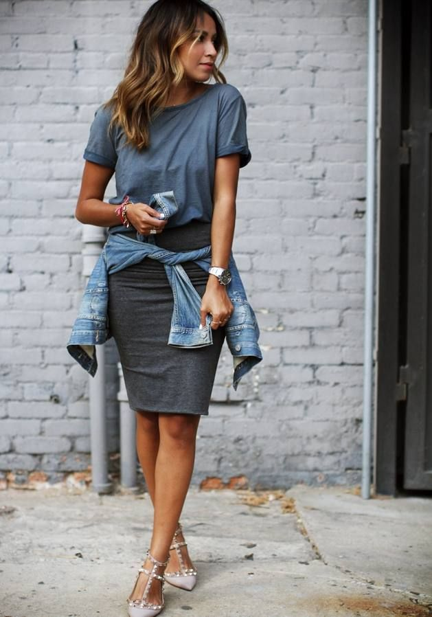 The pastel blue Top & Grey Basic Pencil Midi Skirt go good ...
