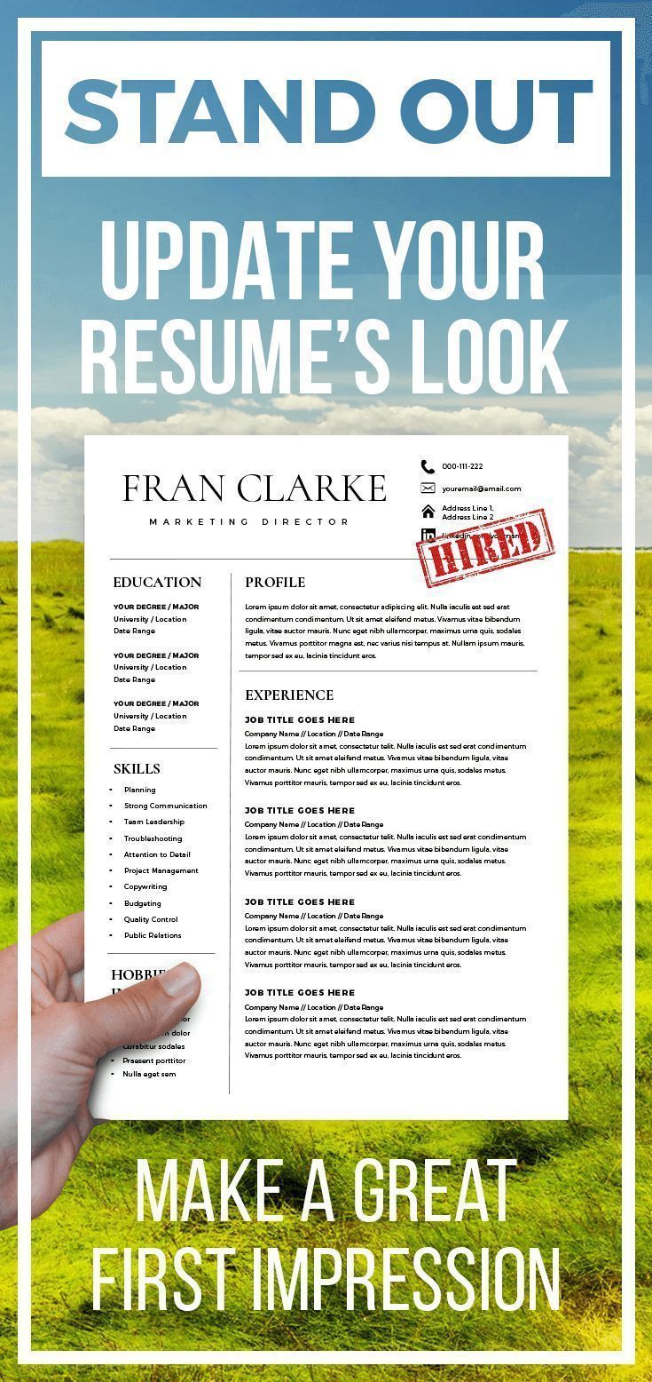 Creative resume template for word 1 2 page resume