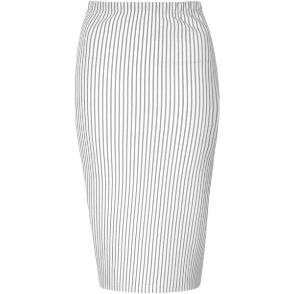 41c4568f58 White And Black Pinstripe Pencil Skirt ($24) ❤ liked on Polyvore featuring  skirts, bottoms, black, mid calf pencil skirt, calf length skirts, midi  skirt, ...