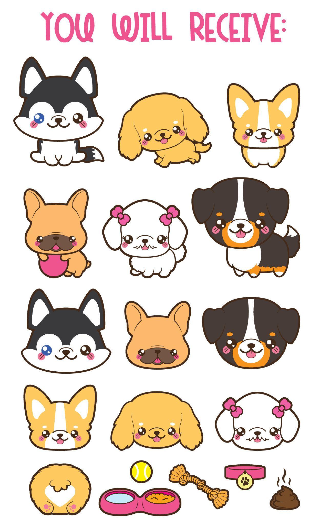 Kawaii Dog Clipart Cute Dog Clipart Dog Breeds Clipart Etsy Chibi Dog Dog Clip Art Puppy Clipart
