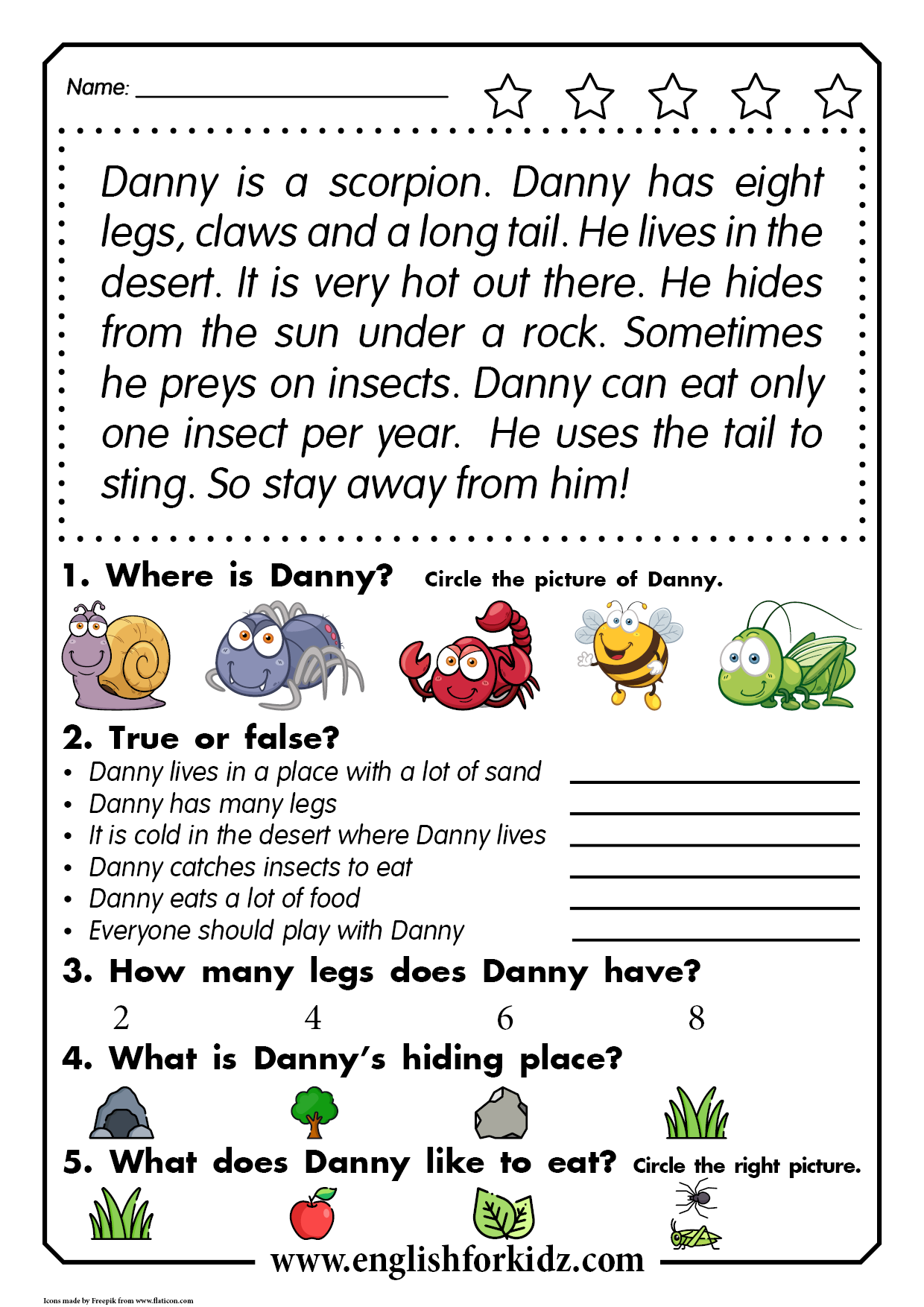 Reading Comprehension Passage For Kids Learning English In