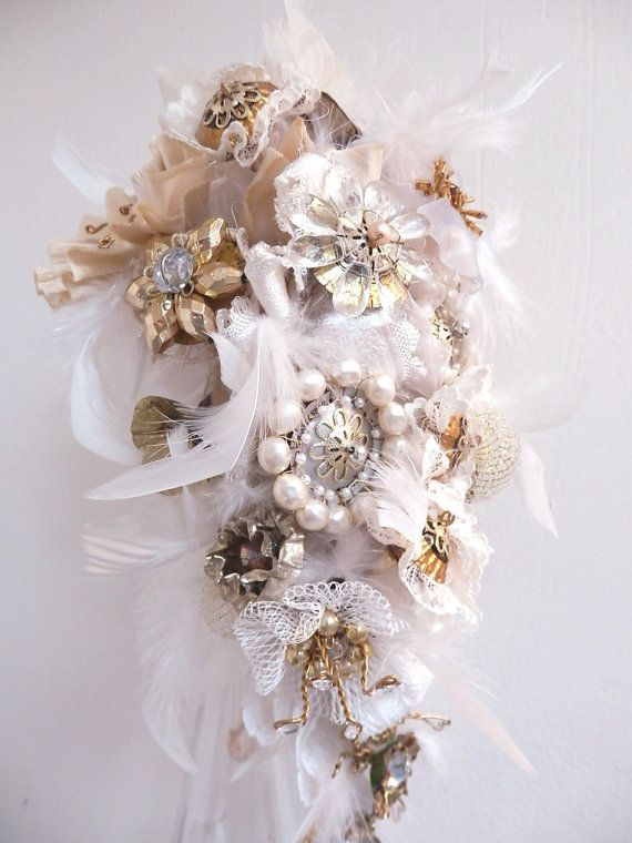 Bridal Bouquet Steampunk Wedding Recycled Broach by JeanineDesigns