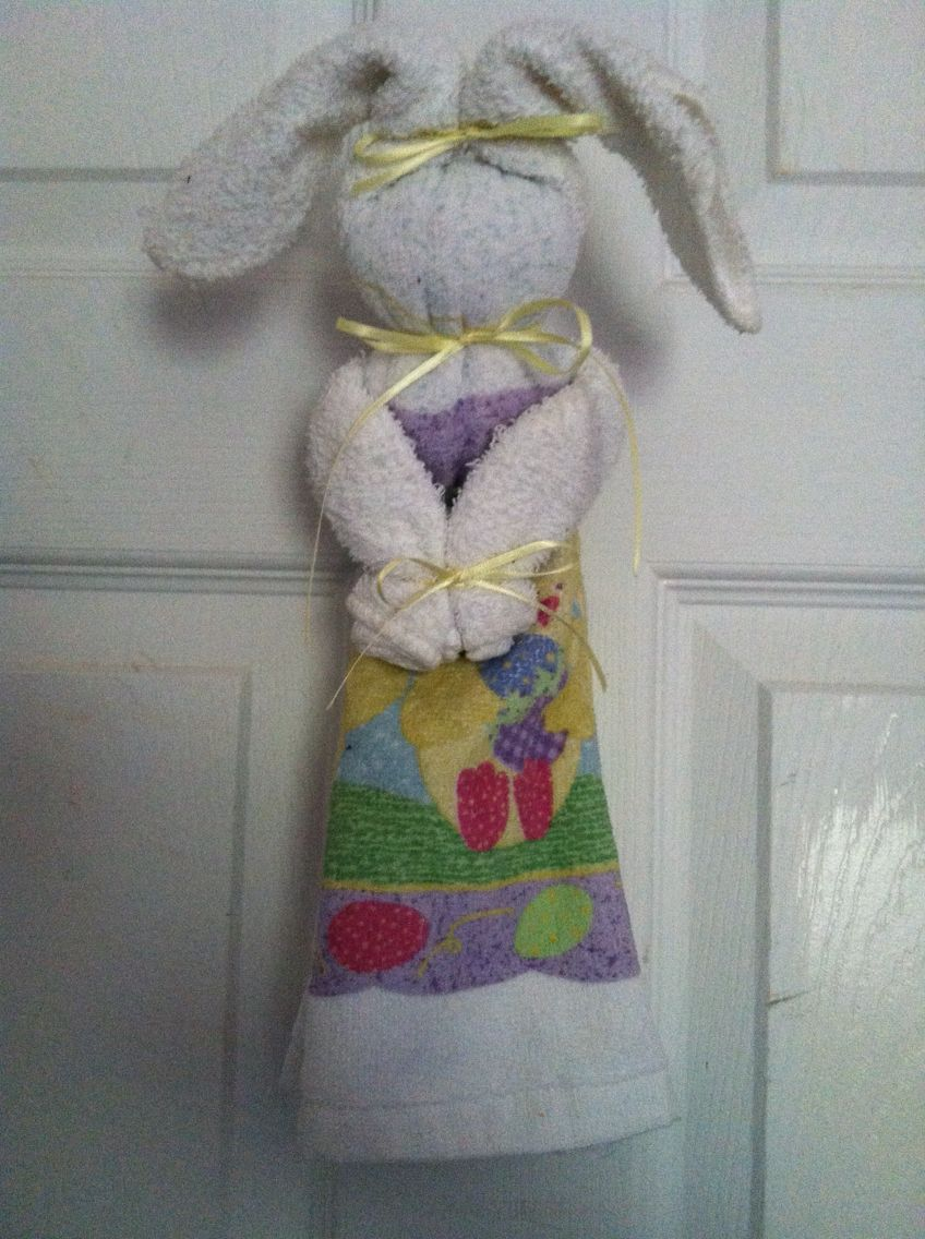 Dish Towel Bunny Easter Bunny Crafts Dish Towel Crafts Kitchen