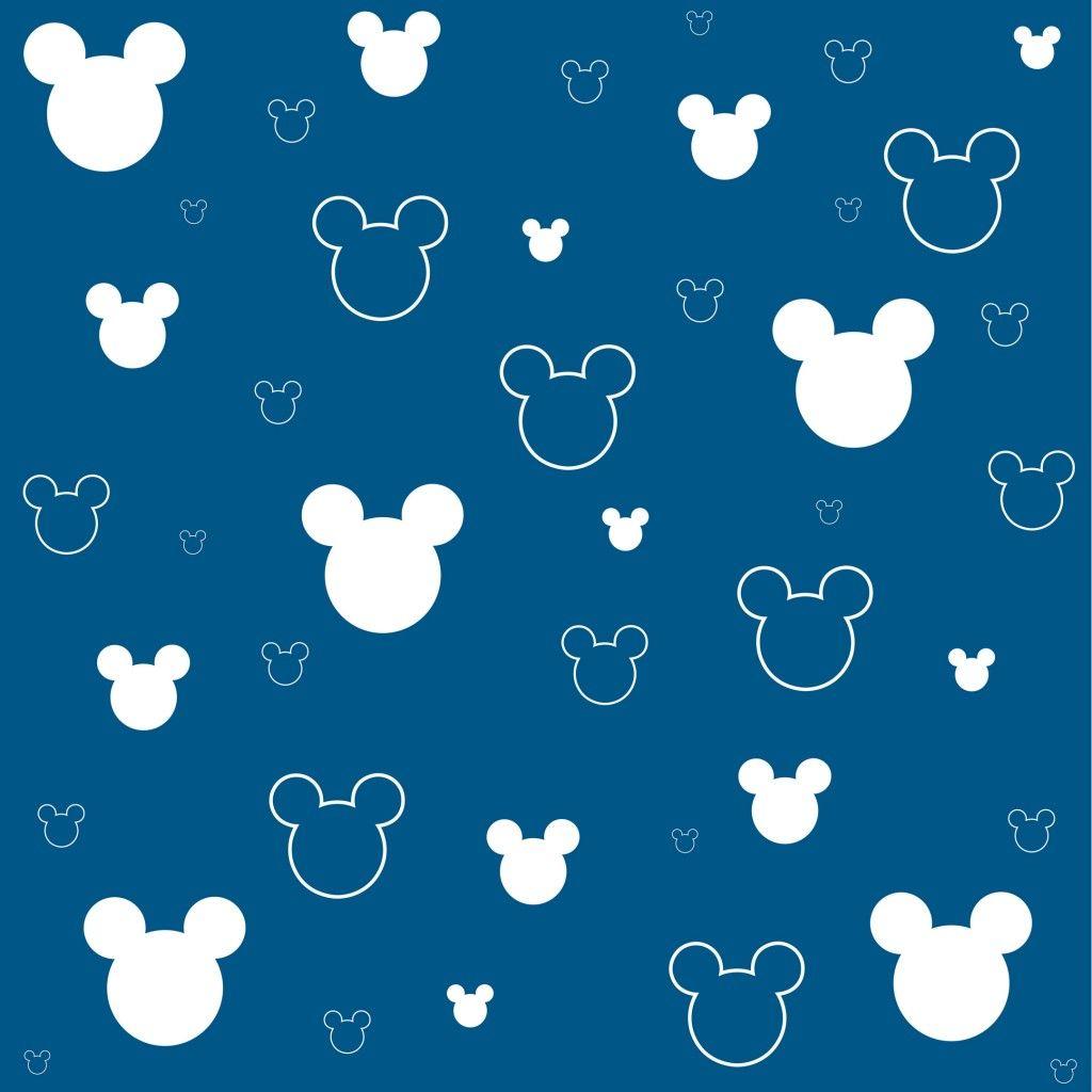 シンプルなミッキーマウス柄ブルー スマホ壁紙 Iphone And Android