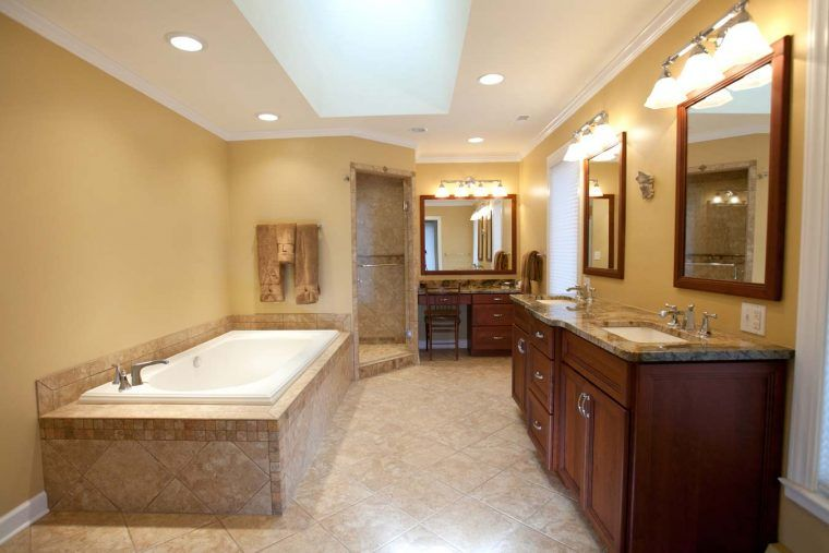 Bright Lighting Ideas In Nice Bathroom Remodel With Diamond Pattern ...