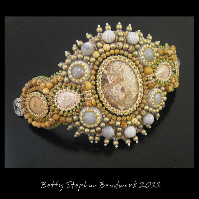 Bead Embroidered Cuff Bracelet by betty.stephan, via Flickr