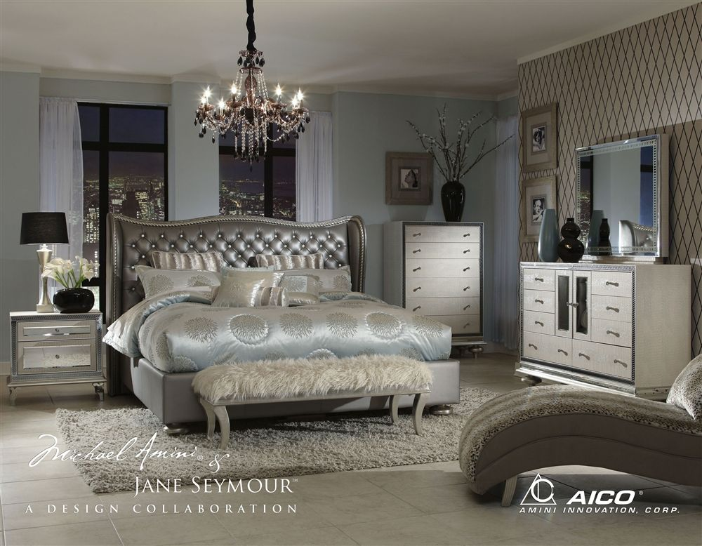 Awesome 4 Piece California King Bedroom Set Hollywood Swank By Aico Amini In  Leather Metallic Graphite