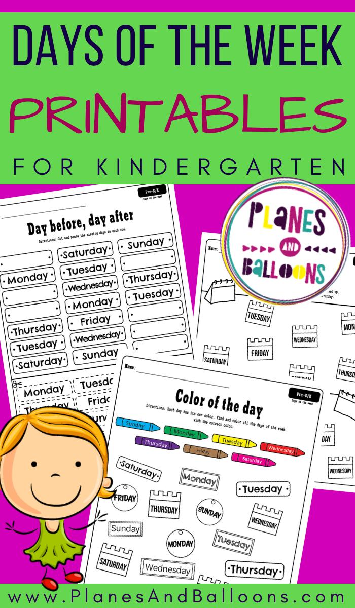 Days Of The Week Worksheets For Kindergarten Kindergarten Worksheets Kindergarten Free Kindergarten [ 1200 x 700 Pixel ]