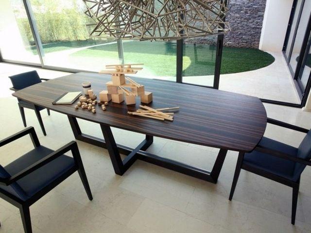 table de salle manger de design moderne en bois fonc