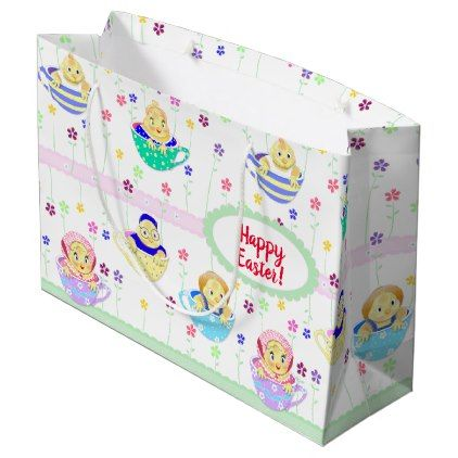Spring easter birthday baby chicks teacup party large gift bag negle Images