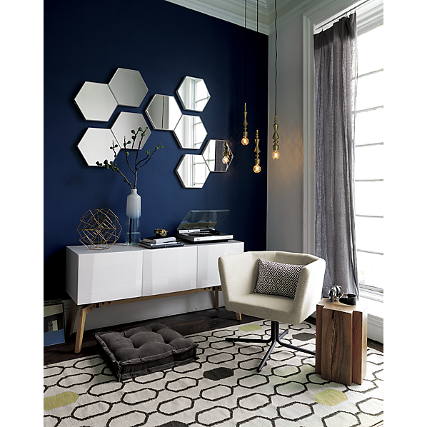 Modern Mirror Design For Living Room set of 3 swarm mirrors in mirrors | cb2 - $179 (less 15% is $152.15