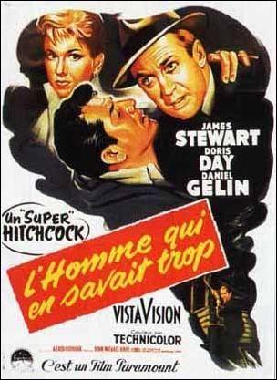 Homme Qui En Savait Trop : homme, savait, L'homme, Savait, Remake, Alfred, Hitchcock,, Movie, Posters, Vintage,, Hitchcock