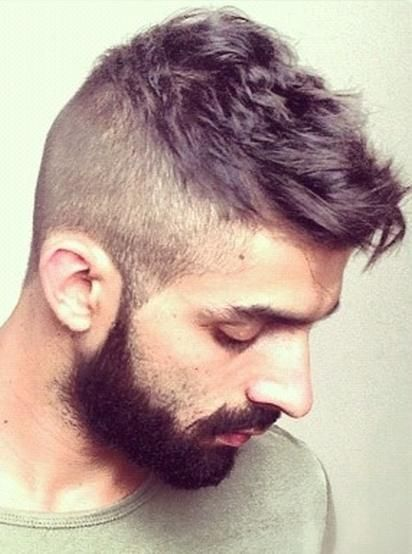 High Short Back Sides With Cool Choppy Top And Beard Mens Haircut Shaved Sides Mens Hairstyles Mens Hairstyles Short