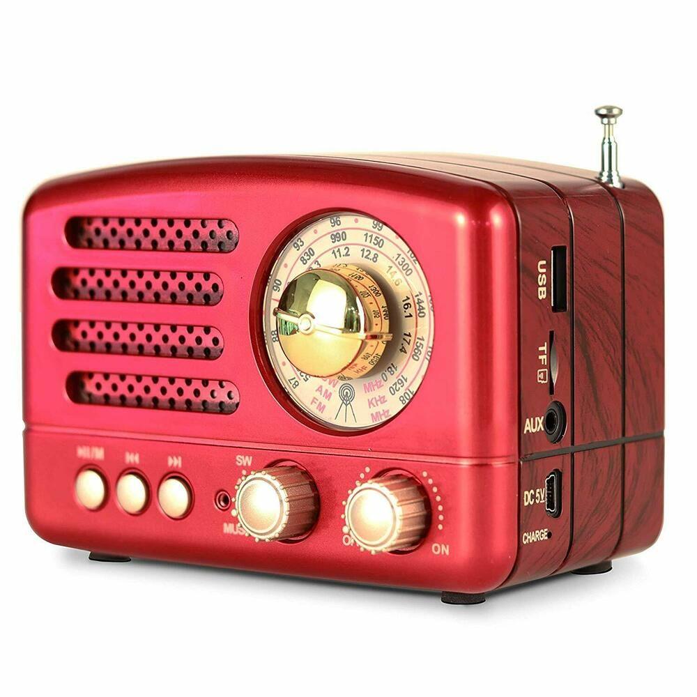 Retro Am Fm Radio Red Vintage Speaker Collectors Retro Portable Gifts Classic Retroamfmradio Bluetooth Speakers Portable Retro Radios Usb Mp3 Player