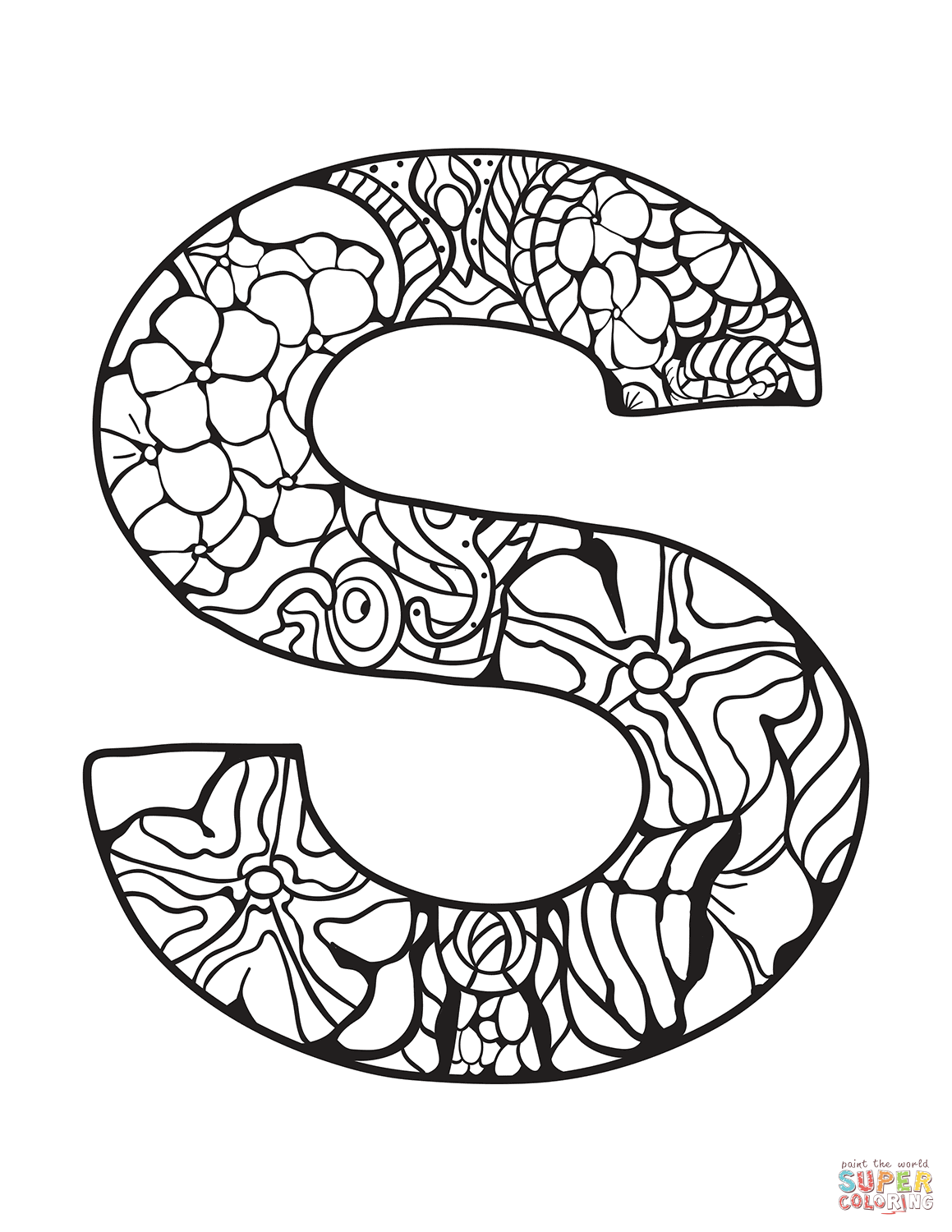 Letter S Zentangle Coloring Page Free Printable Coloring Pages Coloring Pages Alphabet Coloring Pages Alphabet Coloring