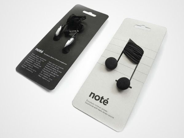 "Here's another great example of packaging that doesn't leave you wondering what to do with the product. These earbuds are wound around their packaging in the shape of a musical note, and are even called ""noté."" We might buy these for the packaging alone. They'd be great for gifts."