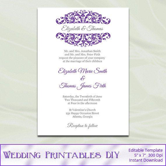 Purple and Silver Wedding Invitation Template Diy Printable Bridal