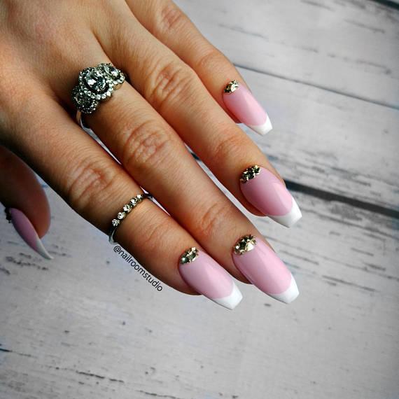 Bridal French Tips 10 Press On Nails Metal Pink Fake Nails Etsy Press On Nails Wedding Nail Art Design Beautiful Nail Designs