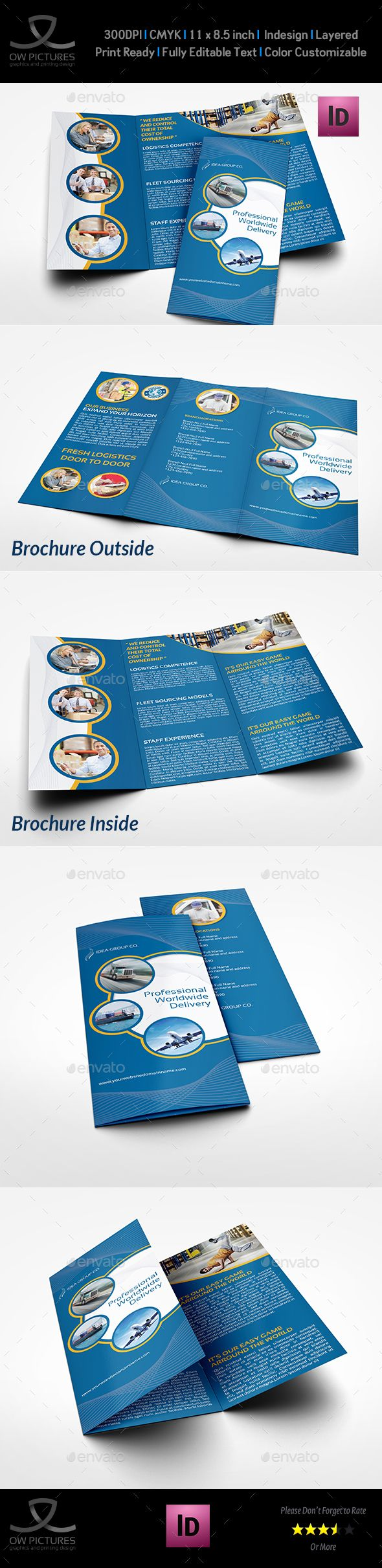 Logistic Services TriFold Brochure Template Vol  Brochures