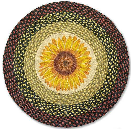Country Rug Sunflower Round Braided Kitchen Decor Rugs And Sunflowers