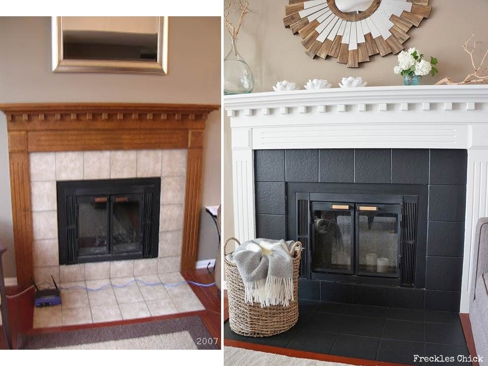 fireplace mini facelift for the home fireplace tile surround rh pinterest com