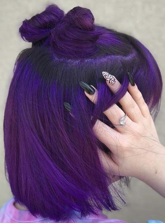 28 Charming Dark Purple Hair Colors & Haircuts in 2018