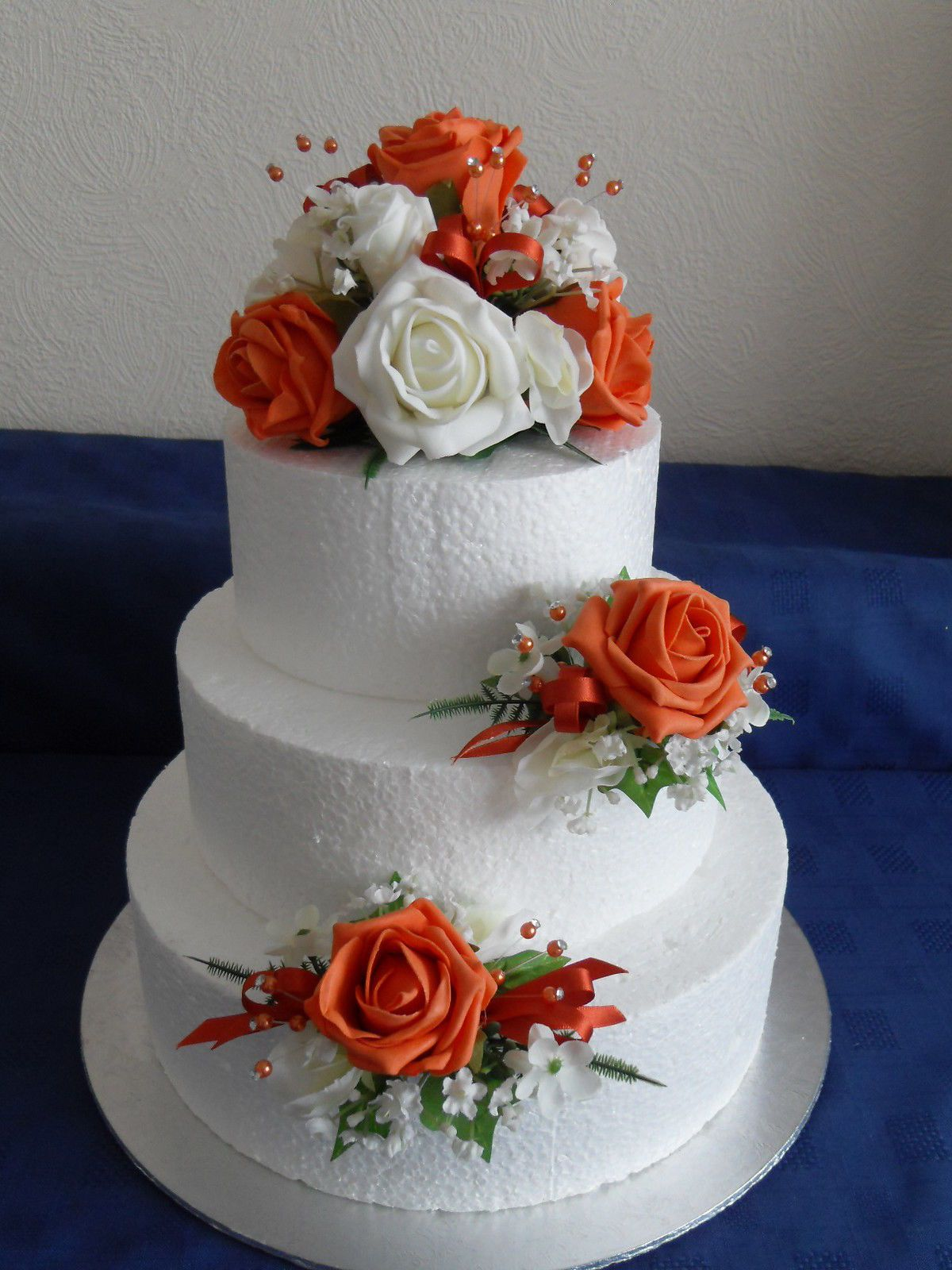 3 Artificial Silk Flower Wedding Cake Toppers In Orange Ivory