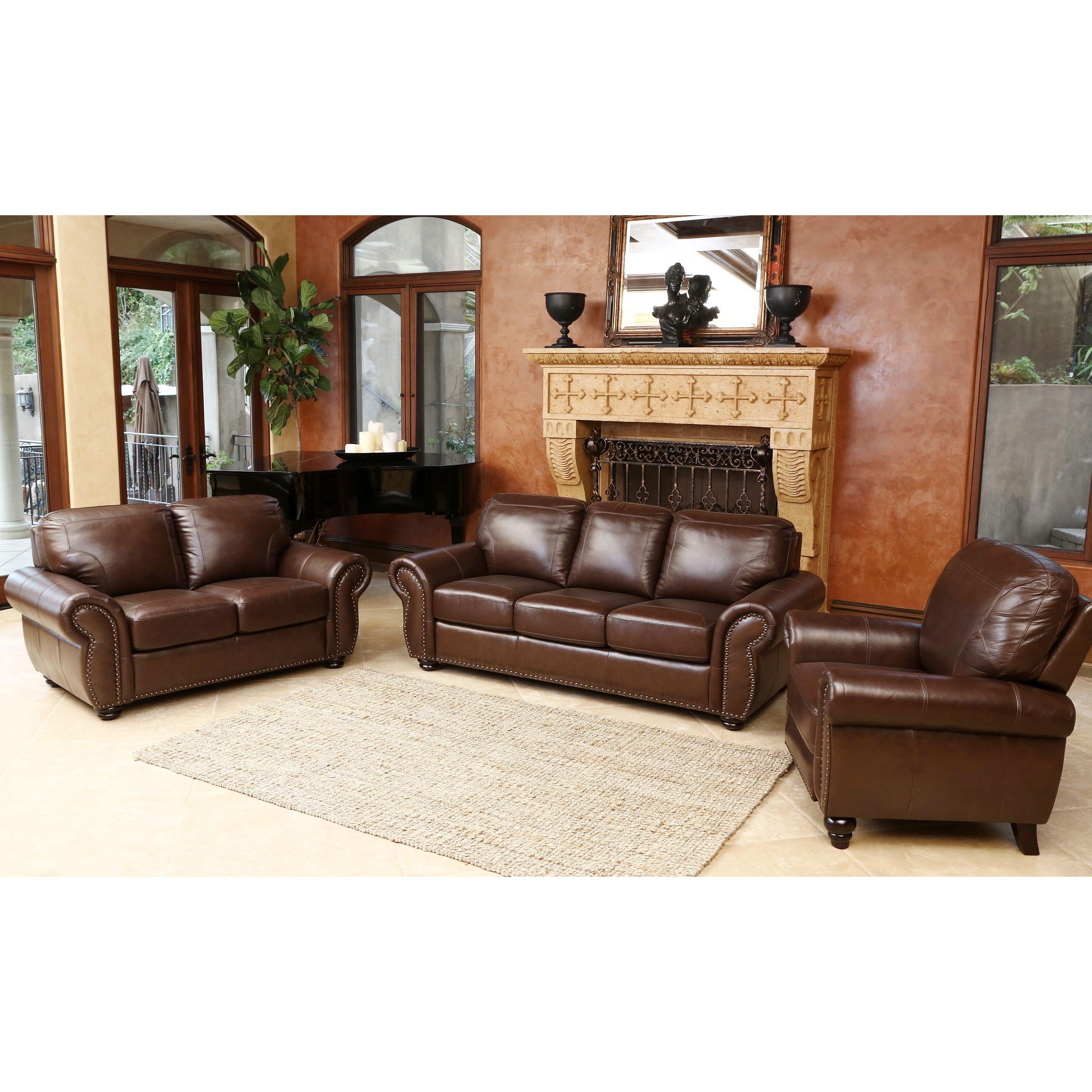 Abbyson Bellavista 3 piece Top Grain Leather Sofa Loveseat