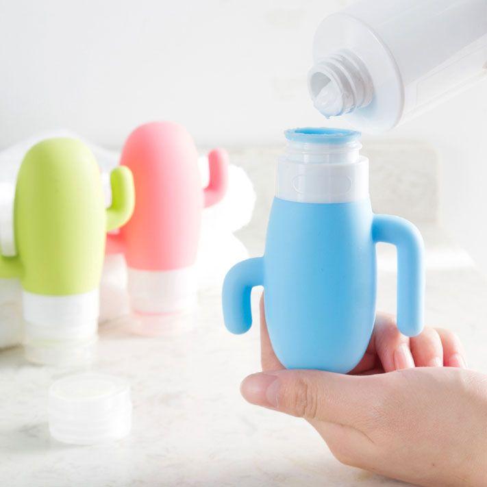 The travel squeeze liquid bottles are cute cactus design