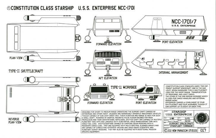 Star Trek Schematics | Constitution Class Shuttlecraft