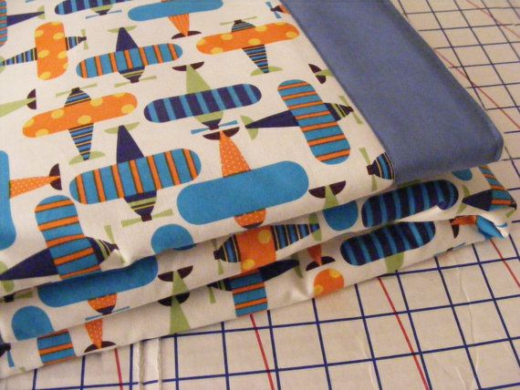 reserved for christie r. oRGANIC Vibrant Airplanes Baby Bedding Toddler Quilt on Etsy, $72.00