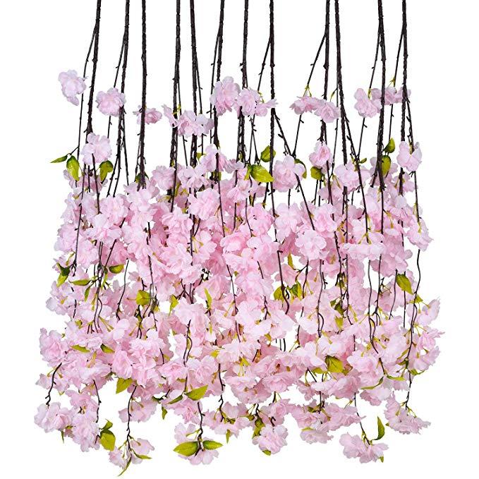 Amazon Com Dearhouse 6 Pack Cherry Blossom Artificial Flowers Garland Hanging Vine Silk Garland Wedding Party Hanging Vines Artificial Flowers Flowering Vines