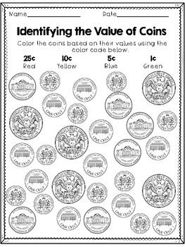 Identifying Coins Coloring Sheets Distance Learning
