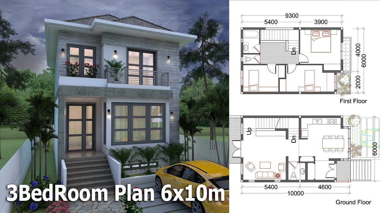 Sketchup Small Home Design Plan 6x10m With 3 Bedrooms Small House Design Two Story House Design Home Design Plan