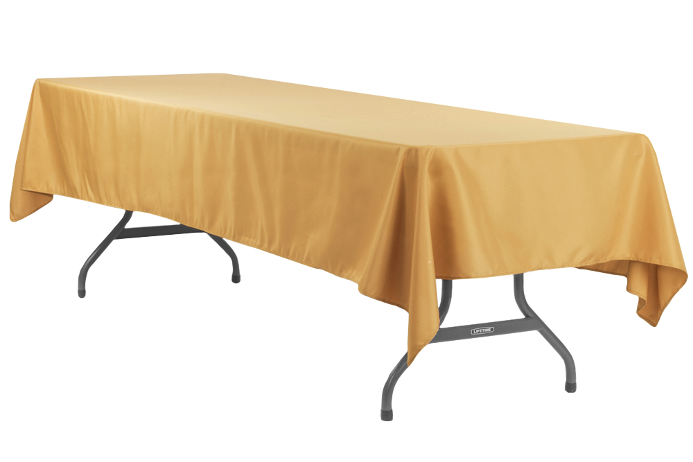 Economy Polyester Tablecloth 60 X120 Rectangular Gold Table