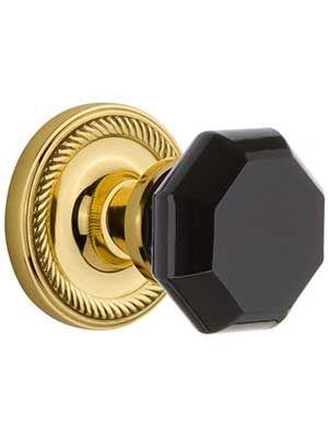 Black Crystal Door Set | Black & Gold Hardware & Lighting ...