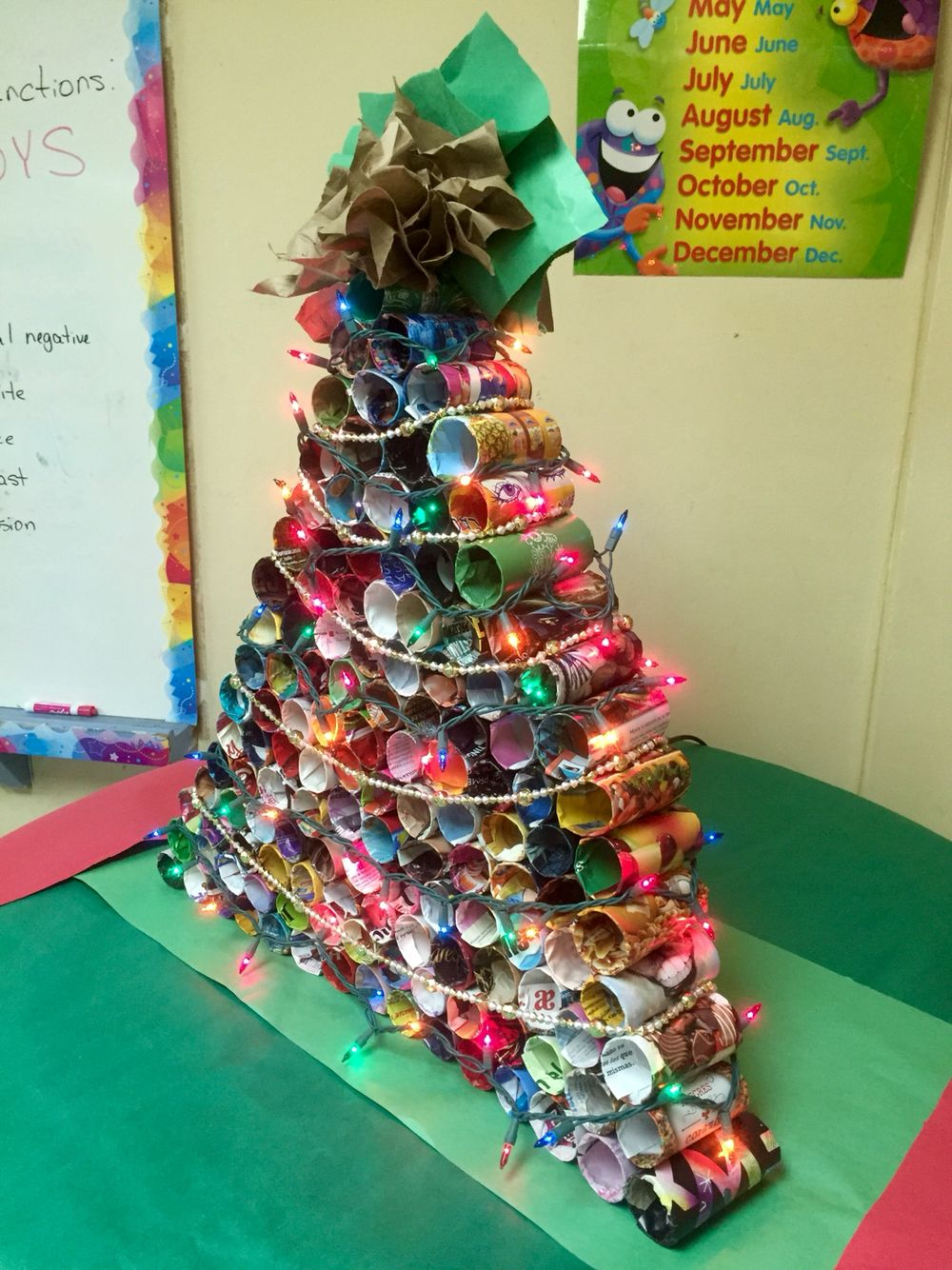 Christmas Tree From Recycled Materials Toliet Paper Rolls Wrapped With Magazine Pages And Recycled Christmas Tree Christmas Tree Decorations Tree Decorations
