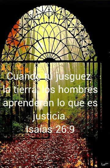 Cuando tú juzgues la tierra, los hombres aprenderán lo que es la justicia. Isaías 26:9