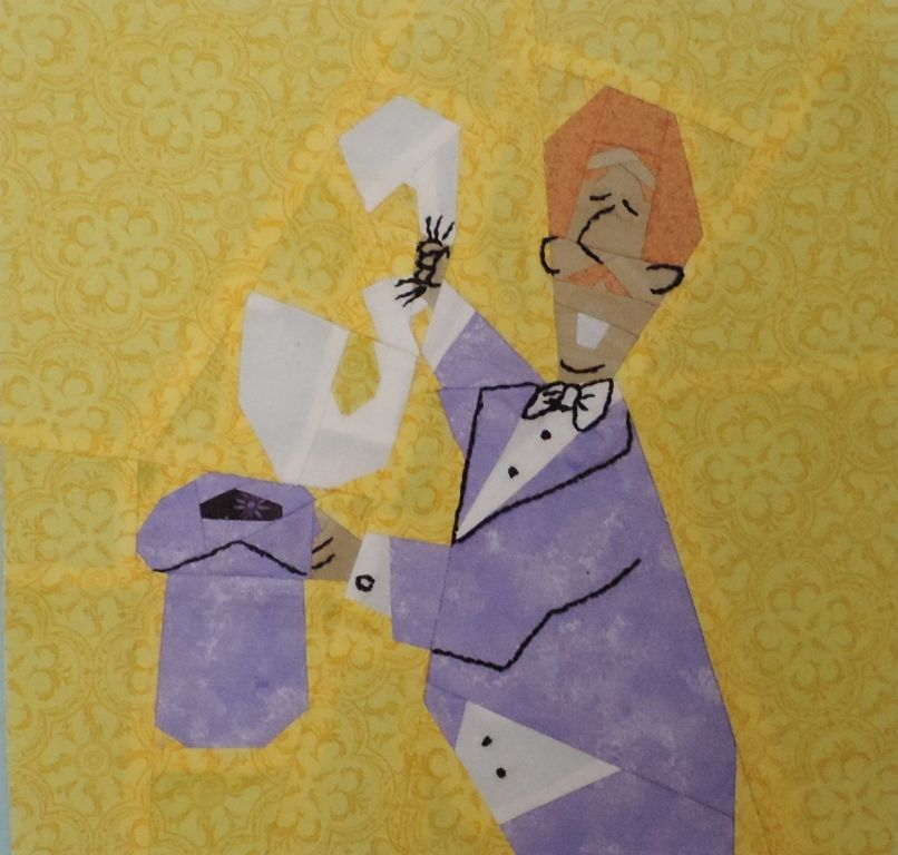 """Magic Three by Lynne Schwarz tested by Linda Sooy 10"""" paper pieced and embroidered free on fandominstitches.com"""