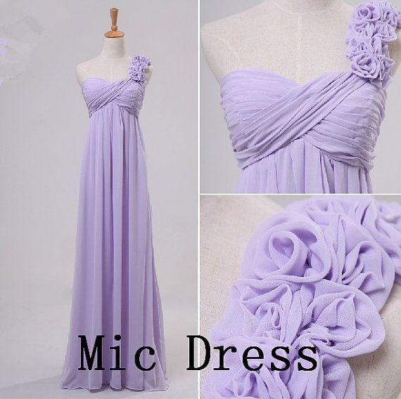 One-shoulder sleeveless floor-length chiffon with handmade flowers long prom/Evening/Party/Homecoming/cocktail /Bridesmaid/Formal Dress on Etsy, $99.00