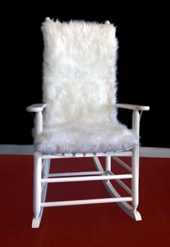 White Long Fur Rocking Chair Cushion Synthetic Fur Rocking Chair Cover Rocking Chair Rocking Chair Covers White Leather Dining Chairs