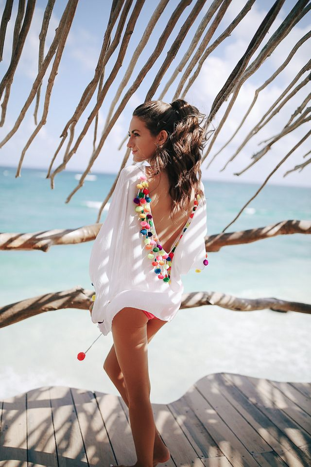 b750a9bc8858 Pom Pom Cover-up in Mexico | style || Resort | Trajes de baño, Traje ...