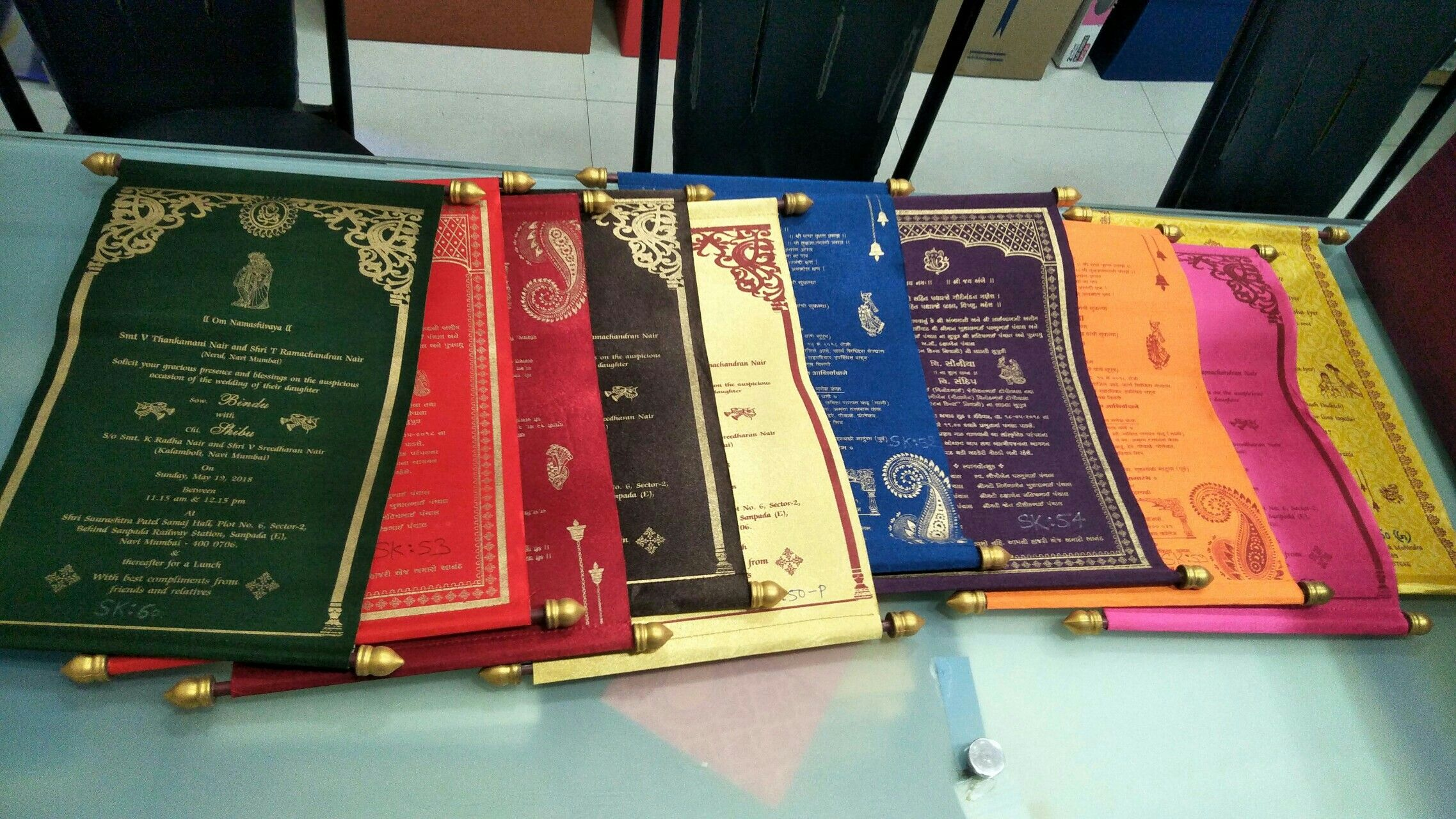 Scroll invitations in satin cloth available in multiple colors ...