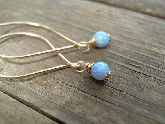 Gold Opal Earrings Minimalist Earrings Tiny 4mm by AnnalisJewelry