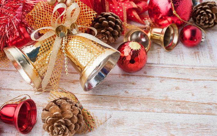 Marvelous Herunterladen Hintergrundbild Neues Jahr, Goldene Glöckchen,  Dekoration, Weihnachten, Zapfen, Rote