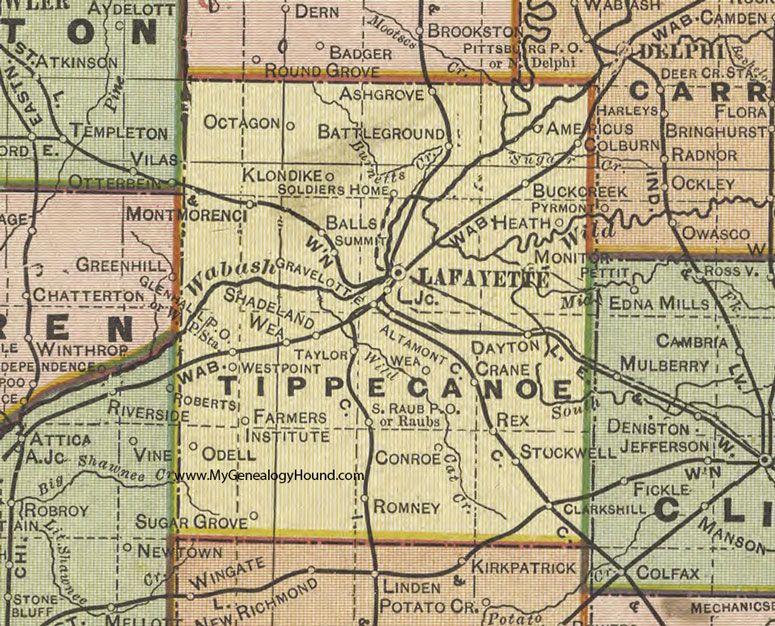 Tippecanoe County Indiana 1908 Map Lafayette Dayton