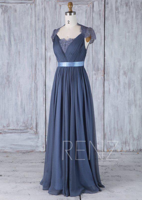 aac4785be476e Bridesmaid Dress Dark Steel Blue Chiffon Wedding Dress Lace Cap ...