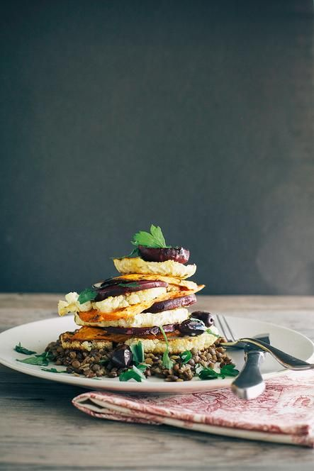 Lemon-Rosemary Vegetables Stack with Lentils and Creamy Horseradish Vinaigrette