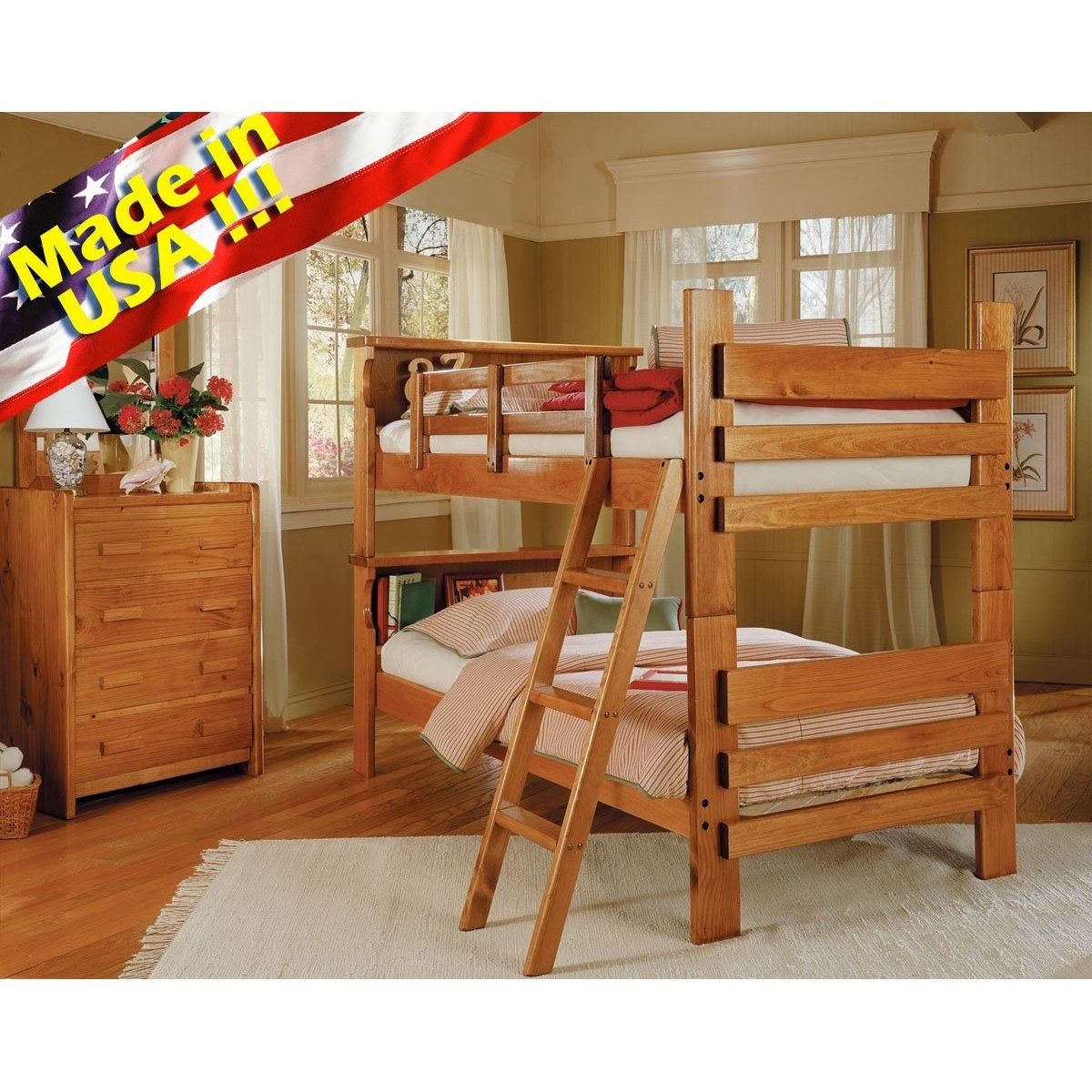 Solid Wood Convertable Twin Twin Bunk Bed W Bookcase Headboard